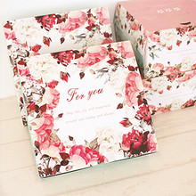 Hot Sale 21*21*6.5cm 10pcs rose European design Cheese Cake Paper Box Cookie Container gift Packaging Wedding Christmas Use