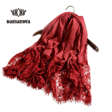 long size Ethnic Embroidered Scarf hijab female cotton Lace Scarf viscose shawl and wrap for women winter Autumn luxury Bandana