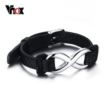 VNOX Black Genuine Leather Infinity Sign Wrap Wrist Band Rope Bracelets for Women and Men Jewelry Size Adjustable(China)