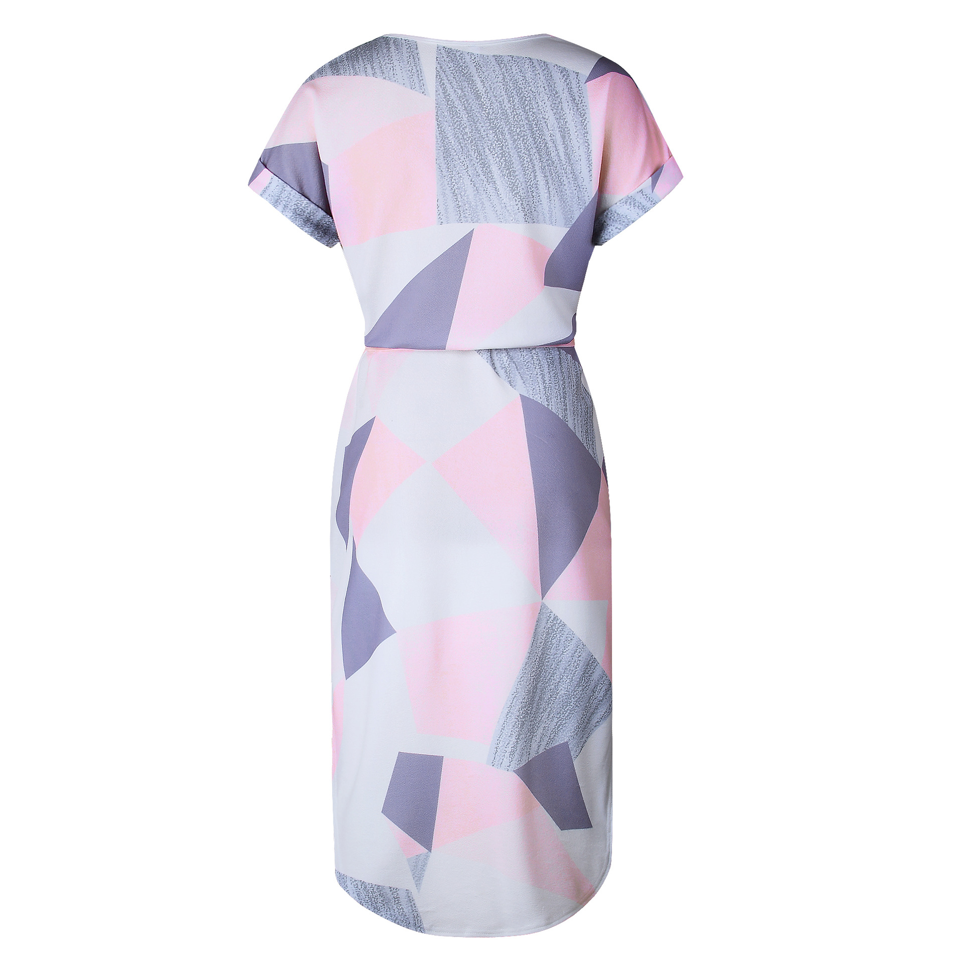 2018 Summer Dress Women Print V Neck Short Sleeve Robe Female Dresses Casual Sashes Midi Dress Ladies Elegant Vestidos Dropship 49