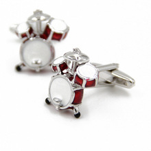 Whoelsale&Retail Fancy 3D Red White Drum Cufflinks For Men Shirts High Quality Musical Instrument Metal Cuff Link Boyfriend Gift
