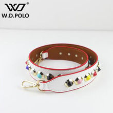 WDPOLO Strap You Messenger Bag accessories  Replacement Pu Leather  Brand Rivet Handle Shoulder Bag Belts for Women  M2278