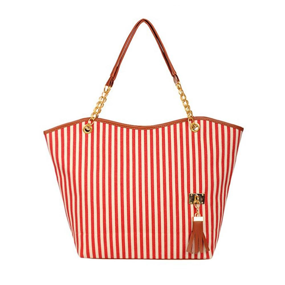 Wholesale 5* Women Canvas Hand Bag Handbag Shoulder Tote Stripe Fashion Red<br>