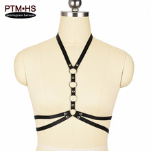 Buy Rivet Goth Body Harness Cage Bra Black Elastic Adjust Strappy Top Bondage Lingerie Fetish Erotic Burlesque corset Womens Fashion