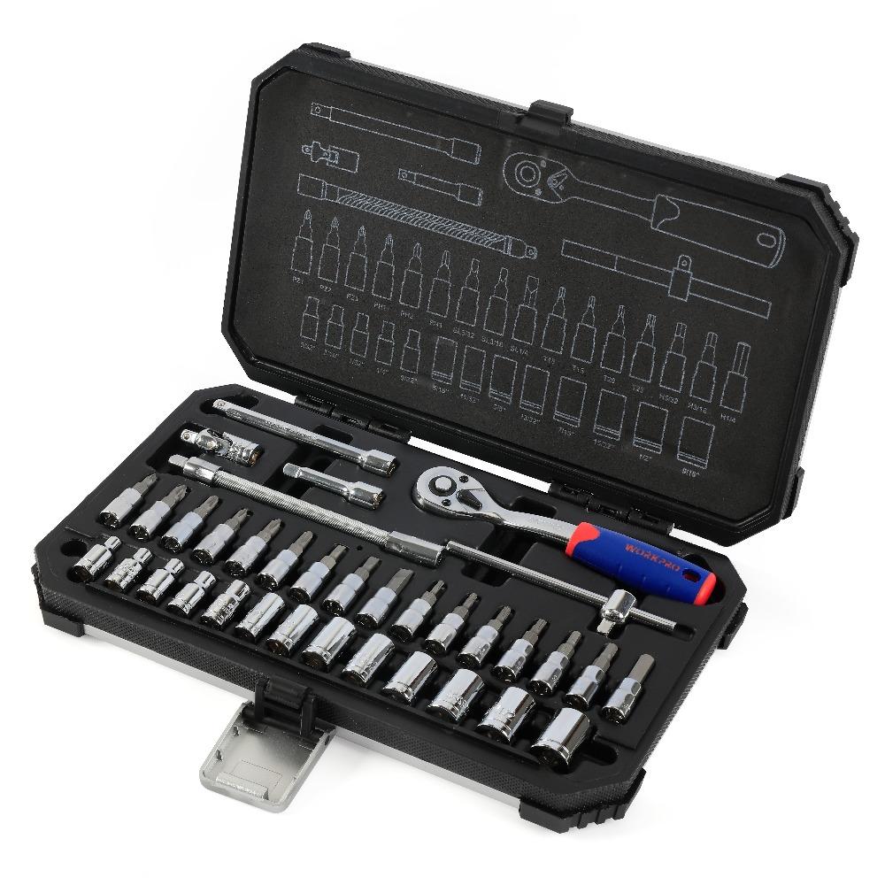 WORKPRO 35PC Tool Set for Car Repair Tools Socket Set Metric 1/4″