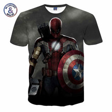 2017 Comic Marvel Avengers T Shirt Men Superhero Captain America Spider Man Iron Man Tshirt Summer Novelty Deadpool Tee Shirts(China)