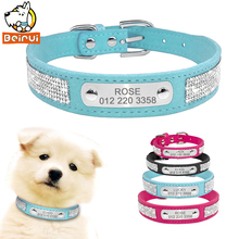 Suede Leather Dog Collar Rhinestone Dogs Cat Personalized ID Collars Customized For Small Medium Pet Puppy Hot Pink Blue Black