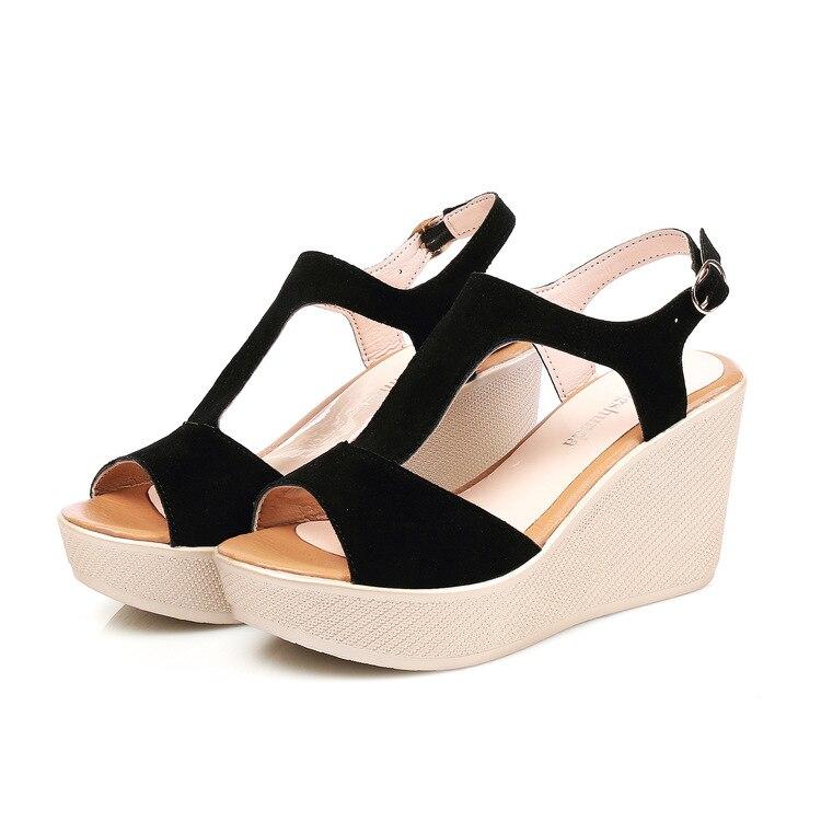 Frauen Sandalen Lakeshi Casual Frauen Sandalen Creepers Keil Sandalen Flache Plattform Schuhe Sommer Frauen Schuhe Wildleder Peep Toe Damen Sandalen 2018 Schuhe