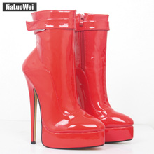 Buy jialuowei Women Boots 18cm High Thin Heels Boots Sexy Fetish Ladies Platform Ankle Boots Dance Party Shoes Black White Boots