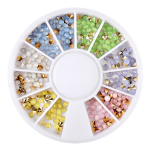 ELECOOL 12 Grids Mixed Colors Glitter Diamond Nail Art Ornaments Stickers Tips Decals Wheel DIY 3D Nail Art Accessories