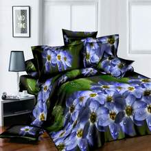 Plant Blue flower 3D Polyester Bedding Set of Duvet Cover set Bed Sheet Pillowcase Bed Clothes Queen size(China)