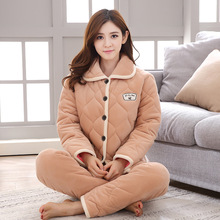 42017cda2d Womens 3 layers Thick Coral Velvet Quilted Pajamas Winter Warm Fashion  Cartoon Flannel Quilted Pyjamas Cotton