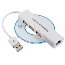 High Quality USB to Network LAN Adapter Ethernet RJ45 with 3 Port USB 2.0 HUB Adapter for Android tablets Drop Shipping