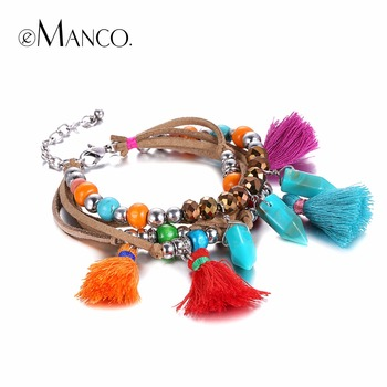 EManco Tendances Coloré Bohême Multicouche Gland Charmes Bracelets & Bangles pour les Femmes Résine Corde Accessoires Bijoux