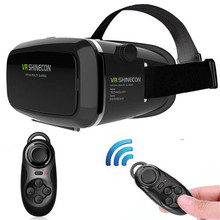 3D Virtual Reality VR Shinecon 3D Glasses Head Mount Movies Games + Bluetooth Controller for 4.7-6.0 Inch Smartphone Wholesale