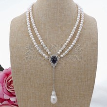 N091309 20'' 2 Strands White Pearl Necklace CZ Pendant(China)