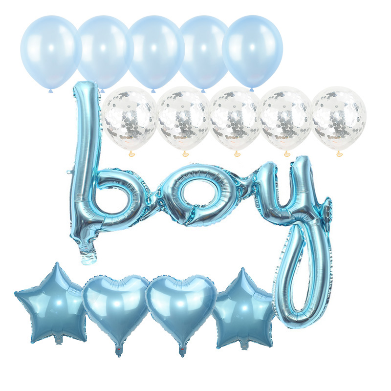 15pcs/set Girl Boy Baby Shower Letter Star Heart Foil Balloons Confetti Latex Ballons Gender Reveal Party Decoration Supplies