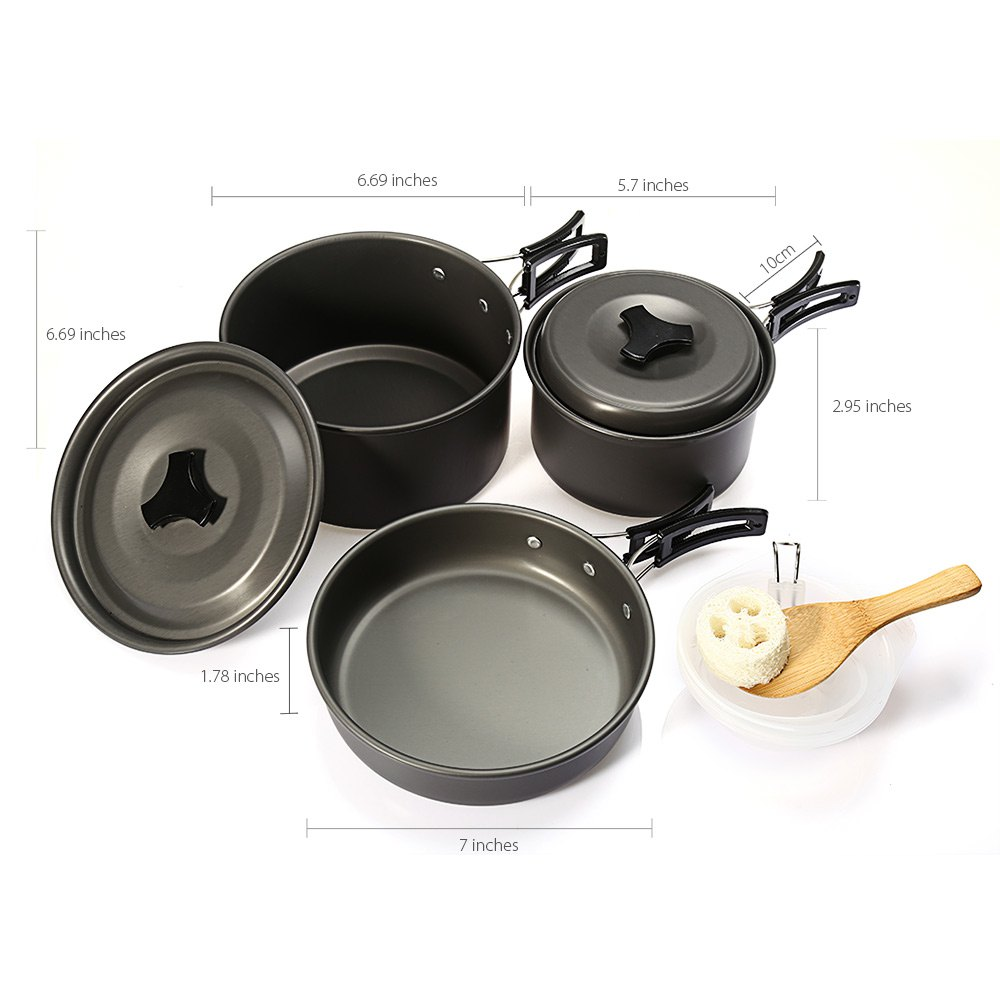Outdoor Camping Picnic Aluminum Alloy Tableware Cookware Pots Frying Pan Bowl Set For Camping Outdoor Travel High Quality 2016<br><br>Aliexpress