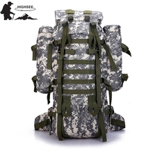 HIGHSEE Camping Tactical Backpack Outdoor Backpack 80l Camouflage Rucksack Men&Women Travel Bag Mochila Tactica Militar Imperm
