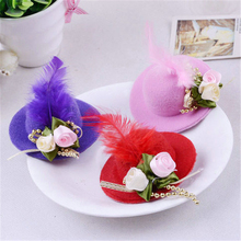 10pc/L Women/girl Hair Hat Clip Feather Pearl Lace Bowknot Top Cap Mini Party Festival Christmas Hat Fascinator Headwear