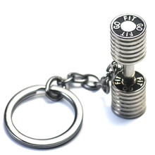 Workout Dumbbell Charm Keychain Stainless Steel CrossFit Fitness Key Chains Sporty Gym Motivation Jewelry Trainer Gift(China)