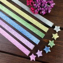 6Colors Flash Diamond Lucky Origami Stars Paper Handmade Quality Hexagonal Wishing Drift Paper Stars Stripes Gift