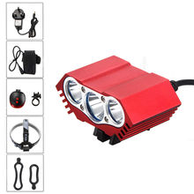 Waterproof Red 7500lm 3x XML U2 LED Head Bike Light Rechargeable Cycling Headlamp + 4X18650 Battery Pack+Rear Light+Charger(China)
