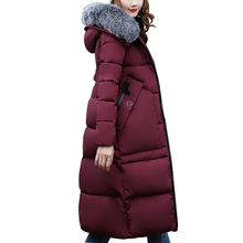 Winter coat women 2017 Fashion Cotton-Padded Coats With fur Collar hooded Female Winter jacket women Long Parka Outerwear(China)