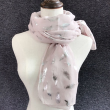 Women Spring Autumn Warm Soft Long Scarves Wrap Shawl Stole Scarve White Navy Blue Shiny Bronzing Silver Feather Infi