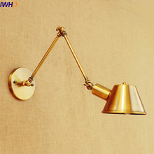 IWHD Antique Gold Vintage Wall Lamp Home Lighting Style Loft Industrial Long Arm Wall Light LED Lamparas De Pared(China)