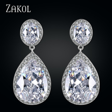 ZAKOL Clear Big Water Drop Zircon Dangle Earrings Dubai Style Women Jewelry Gorgeous Earrings FSEP2013(China)