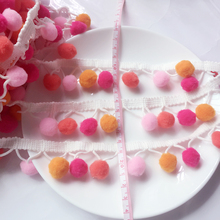 2 Meters Multi Colors Pom Pom Ball Fringe Lace Shawl Baby Toddler Trim Craft Embroidered Hood Hat Sewing Accessories(China)