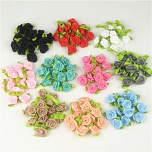 50 PCS 2 CM Artificial Silk Mini Rose Flowers Heads Make Satin Ribbon DIY Craft Scrapbooking Applique For Wedding Decoration