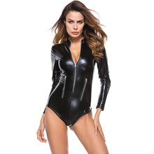 Buy Erotic Women PU Leather Bodysuit Long Sleeve Lingerie Zipper Front Wetlook Catsuit Gothic Faux Leather Jumpsuit Fetish Clubwear