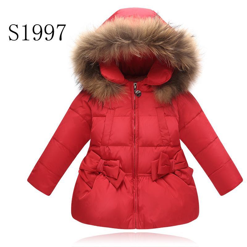 White Duck Down Ultra Light Children Winter New Brand Baby Girl Down Outwear Solid Bow Parkas Fur Hooded Coat Hot Sale 2-8T Kid Îäåæäà è àêñåññóàðû<br><br>