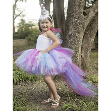 Princess Little Pony Unicorn Bustle Tutu Dress Girls Rainbow Birthday Party Photo Prop Tutu Dresses Halloween Custom For Kids