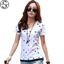Buy Geometric Print Star T-Shirt Femme 2018 Summer Tops Short Sleeves T Shirt Women V-Neck T-Shirts Casual Korean Womens Clothing for $10.21 in AliExpress store