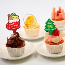 100Pcs/lot Christmas Cupcake Topper Merry Xmas Cake Wrappers Decoration 3.8X2.6cm Items Cute Tree Gear Stuff Supplies Products(China)