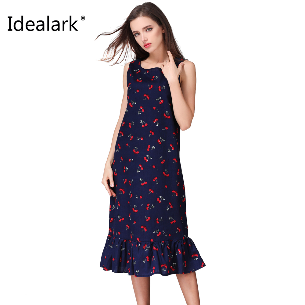 Idealark 100% cotton New 2017 summer spring Women Long Dress Sleeveless Casual plus size mid calf long printed Dresses WC0599(China (Mainland))