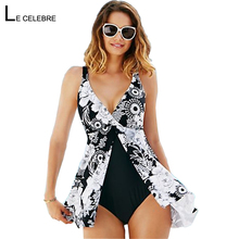 5XL Plus size Swimwear Women Large Size One piece Swimsuit Dress Female Bathing Suit 2017 Swim Skirt One-piece Bather Beach Wear