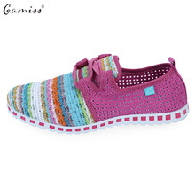 Gamiss Summer Flat Shoes Woman Casual Flats Lace-Up Rainbow Strip Outdoor Women Flat Shoes Plus Size Unisex Lover Flat Shoes(China)
