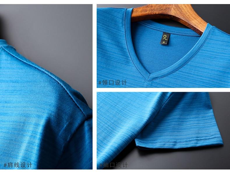 2018 Summer High quality men T shirt casual short sleeve V-neck Mercerized cotton t-shirt men brand icy Silk black Co (10)