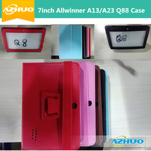 Cheapest Protective Leather Case Cover with stand holder and bandage for 7 inch Q88 Q8 Tablet PC AllWinner A13 A23 free shipping(China)