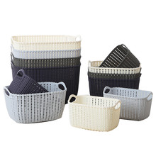 Kitchen Bathroom Desktop Imitation Rattan Storage Basket Plastic Storage Baskets Bathroom Cosmetic Make ups Storage Basket(China)