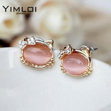 Hello Kitty Jewelry With Crystal Bowknot Opal Cute Cat Stud Earrings female Cat Jewelry E111