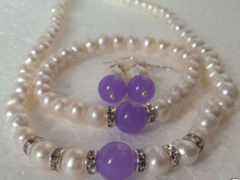 free shipping $wholesale_jewelry_wig$ 7-8mm White Akoya Cultural Pearl/Lavender  Bracelet Necklace Earring A Set
