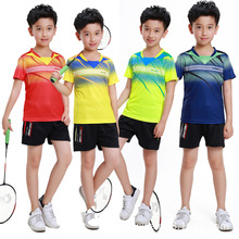 New Boys Girls Badminton shirt,Children breathable sportswear short-sleeved Clothing,kit Badminton Table Tennis t shirt + Shorts(China)