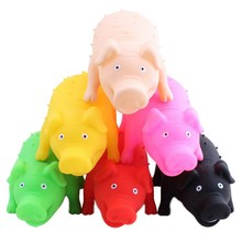 New Cute Vinyl Rubber Pig Shape Pet Squeak Toys Dog Cat Puppy Chew Sound Toys Press Sound(China)