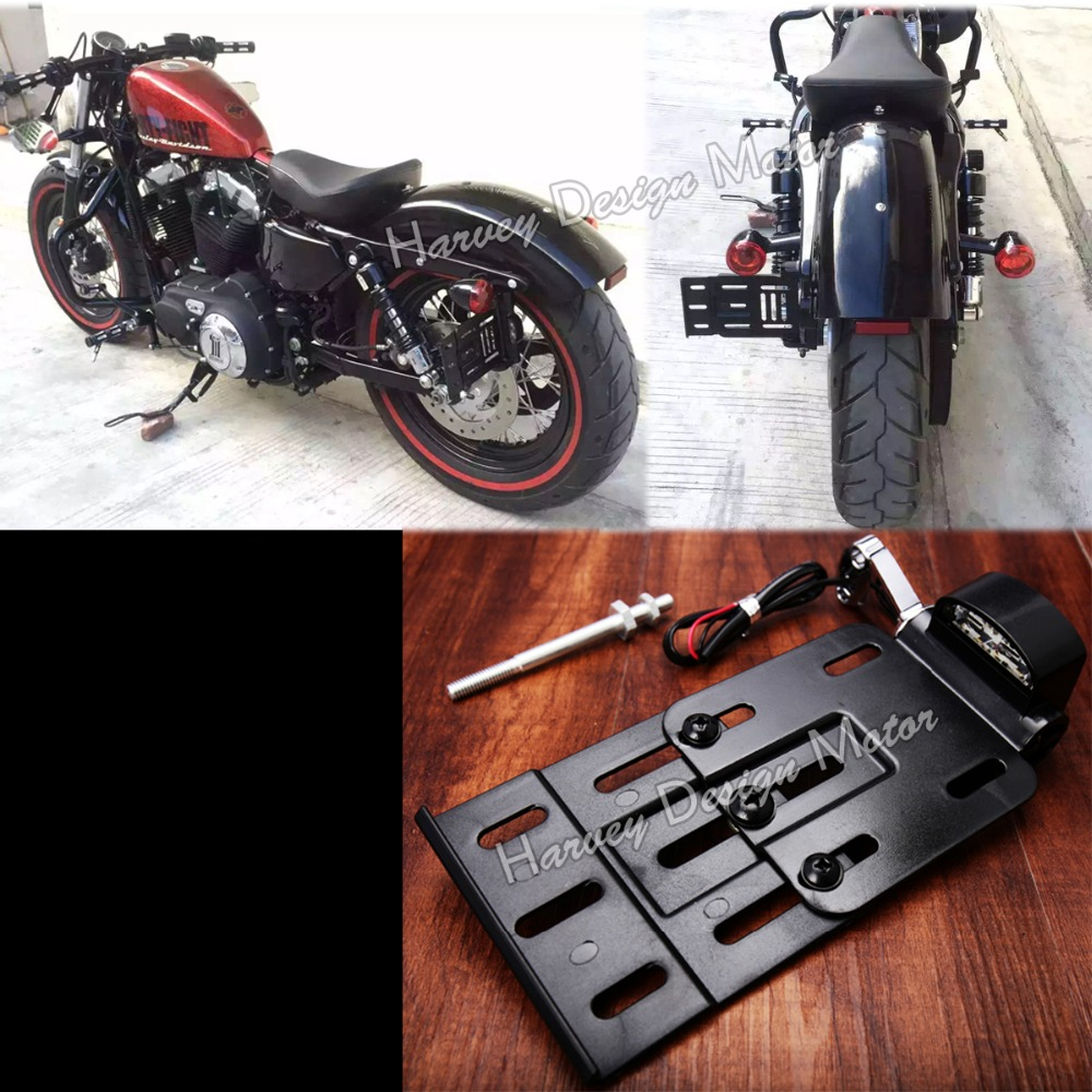 Motorcycle Telescopic Folding LED Light Side Mount License Plate Holder For Harley Dyna Fat boy Sportster 883 1200 XL 07-16<br>