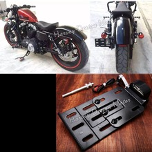 Motorcycle Telescopic Folding LED Light Side Mount License Plate Holder For Harley Dyna Fat boy Sportster 883 1200 XL 07-16(China)
